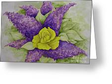 A Rose Among The Lilacs Greeting Card