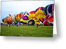 A Row Of Hot Air Balloons Left Side Greeting Card