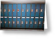 A Row Of Lockers In A School Hallway Greeting Card