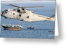 A Royal Navy Merlin Helicopter  Greeting Card