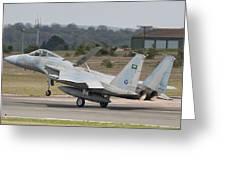 A Royal Saudi Air Force F-15c Landing Greeting Card
