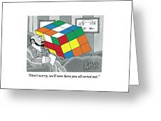 A Rubik's Cube Is Seen In A Psychiatrist's Office Greeting Card by Gahan Wilson