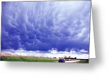 A Rural Nebraska Highway And Magnificent Sky Greeting Card