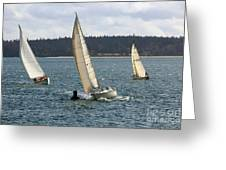 A Sailing Yacht Rounds A Buoy In A Close Sailing Race Greeting Card