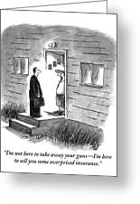 A Salesman Comes To The Door Of A Disgruntled Greeting Card