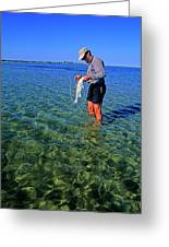 A Salt Water Fly Fisherman Catches Greeting Card