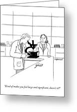 A Scientist Looking Into A Microscope Greeting Card