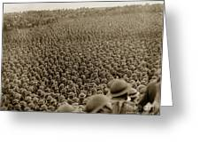 A Sea Of Helmets World War One 1918 Greeting Card