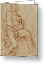 A Seated Man Bernardino Poccetti Barbatelli Greeting Card
