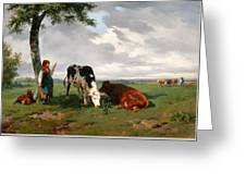 A Shepherdess With A Goat And Two Cows In A Meadow Greeting Card