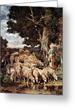 A Shepherdess With Her Flock Near A Stream Greeting Card