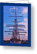 A Tall Ship At Sundown In Baltimore Greeting Card