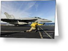 A Shooter Signals To Launch An Fa-18e Greeting Card