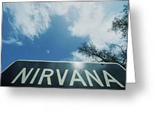 A Sign That Reads Nirvana Greeting Card