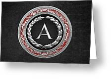 A - Silver Vintage Monogram On Black Leather Greeting Card