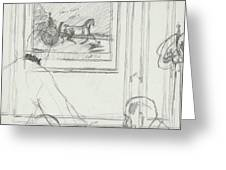 A Sketch Of A Horse Painting At A Bar Greeting Card