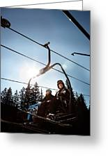 A Skier And Snowboarder Share The Chair Greeting Card