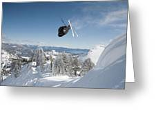 A Skier Doing A Front Flip Into Powder Greeting Card