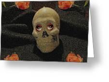 A Skull In The Dark Pop Art Greeting Card