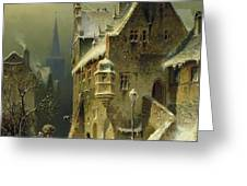 A Small Town In The Rhine Greeting Card