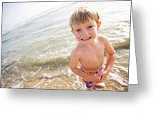 A Smiling Young Boy Enjoys A Sunny Greeting Card