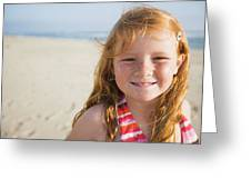 A Smiling Young Girl Enjoys A Sunny Greeting Card