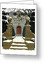 A Snow Covered Pathway Leading To A Mansion Greeting Card
