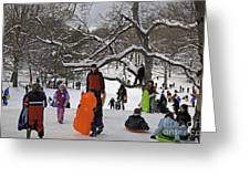 A Snow Day In The Park Greeting Card