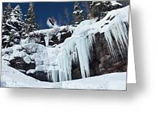 A Snowboarder Jumps Off An Ice Greeting Card