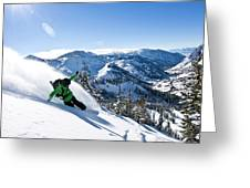 A Snowboarder Making Some Fresh Tracks Greeting Card