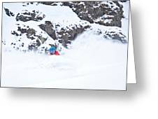 A Snowboarder Riding Through Powder Greeting Card