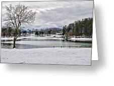 A Snowy Day On Lake Chatuge Greeting Card