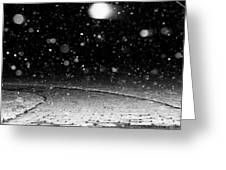 A Snowy Night Greeting Card by Hannah Miller