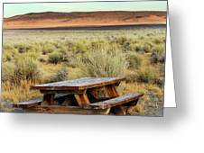 A Solitary Wooden Picnic Bench Greeting Card