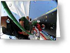 A Spanish Racing Yacht Trains Greeting Card