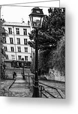 A Spring Walk In The City Bw Greeting Card