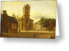 A Square Before A Church Greeting Card
