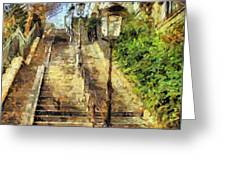 A Stairway In Montmartre Greeting Card