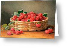 A Still Life Of Raspberries In A Wicker Basket  Greeting Card
