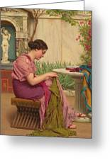 A Stitch Is Free Or A Stitch In Time 1917 Greeting Card by John William Godward