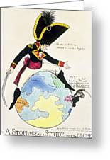 A Stoppage To A Stride Over The Globe, 1803 Litho Greeting Card