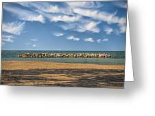 A Storm Barrier On Presque Isle Greeting Card