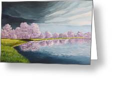 A Storm Over Cherry Trees Greeting Card