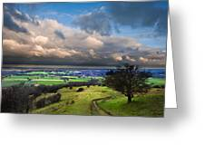 A Storm Over English Countryside With Dramatic Cloud Formations  Greeting Card