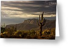 A Stormy Evening In The Superstitions  Greeting Card