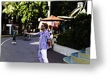 A Street Entertainer In The Hollywood Section Of The Universal Studios Greeting Card