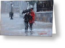 A Stroll In The Rain Greeting Card by Laura Lee Zanghetti