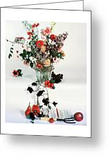 A Studio Shot Of A Vase Of Flowers And A Garden Greeting Card