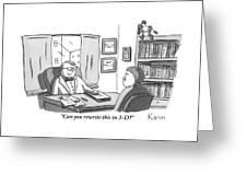 A Suited Man Behind A Desk Addresses A Writer Greeting Card