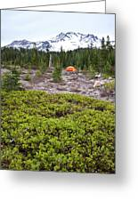 A Summer Day Camping At The Foot Of Mt Greeting Card